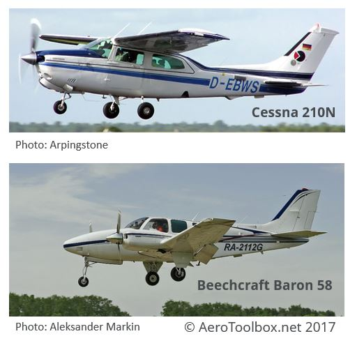 Wing Loading on Beechraft Baron and Cessna 210